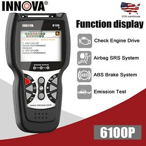 Innova 6100p Can Obd2 Diagnostic Tool Abs Color Screen Srs Airbag Emission Test