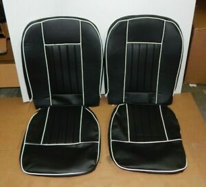 New Front Seat Covers Seat Upholstery For Mgb 1963 1968 Black Vinyl W White Trim