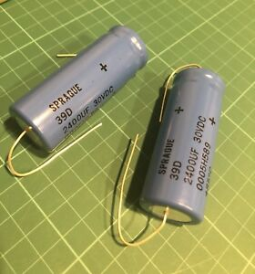2 Sprague Capacitor 2400 Uf 30vdc Size 39d Never Used