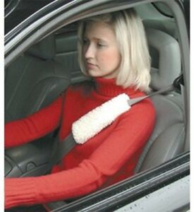 New Set Of 2 Reversible Simulated Sheepskin Two Seat Belt Shoulder Pad Cover