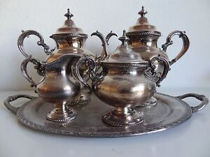 Vintage Reed Barton 5 Pc Silver Plated Tea Set With Rogers Tray
