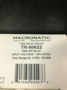 Macromatic Tr 60622 True Off Time Delay Input 120v Ac dc Range 05s 30min