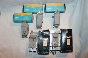 Lot Of 5 Gray Electrical Switches Rocker Dimmer Fan Toggle