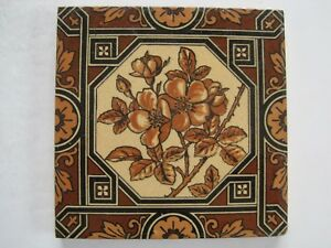 Antique Victorian Mintons Tile C1885 Wild Rose In Octagon Border Patt No 1795