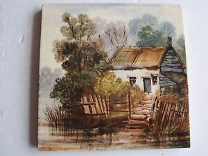 Antique Victorian 6 Hand Painted Scenic View Tile
