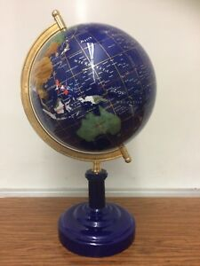 Modern Blue Lapis Gemstone Inlaid 12 Diameter World Desk Globe Made In China