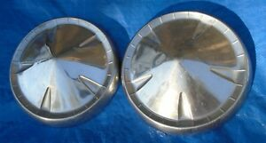 Pair 1957 58 59 Dodge Plymouth Mopar 10 Dog Dish Poverty Hubcaps Oem Set Of 2