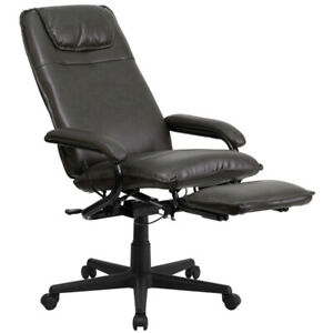 New High Back Brown Leather Executive Reclining Office Chair With Arms