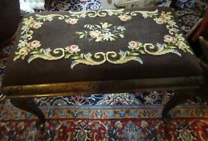 Vintage Needlepoint Stool Vanity Piano Bench Foot Rest 1940s Dark Wood