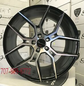 20 Giovanna Haleb Black Machine Concave Wheels Rims Fits Ford Mustang 5x114 3