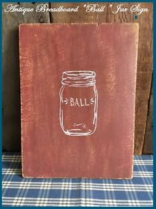 Antique Primitive Wood Bread Board Barn Red Paint With Paint Of A Ball Jar