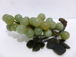 Jade Chinese Carved Jade Jadeite Green Grape Bunch D Green Stone Leaves 5312