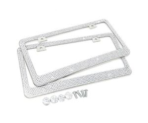Premium 9 Row Crystal Metal License Plate Frame Free Caps For Chevy Infiniti X 2