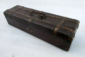 Antique Old Collectible Wood Beautiful Pan Pencil Storage Box With Brass Work