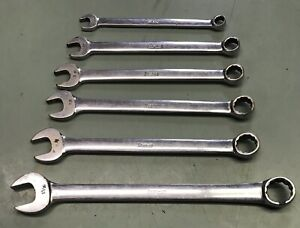 Snap on Flank Drive Combination Wrench Set 3 8 Thru 13 16 12 Point Box 6 Pc