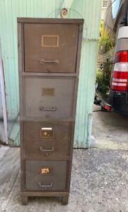 Vintage Art Metal Modular Stacking Steel Case 5 Pc File Cabinet Industrial Chic