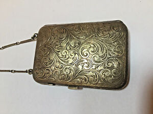 Antique Sterling Silver Powder Compact Mirror Purse With Chain Rare Exquisite