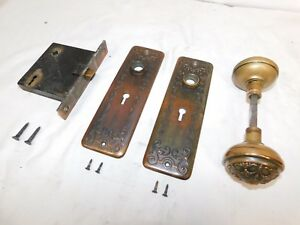 1890s Complete Door Lockset Brass Knobs Plates Victorian Style Original Ornate