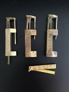 Antique Lot 3 Brass Chinese Locks W Keys 2 Matching Decorated Ornate 1 Plain