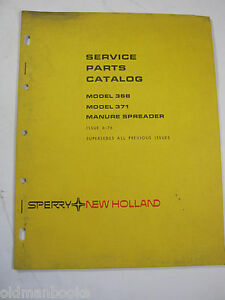 New Holland 368 371 Manure Spreader Service Parts Catalog Manual Factory 1976