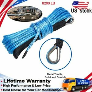 Ucreative 1 4quot X 50 8200 Lbs Synthetic Winch Line Cable Rope With Sheath At