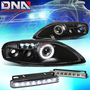 Black Halo Projector Headlight 8 Led Grill Drl Lamp Fit 92 00 Z30 Sc300 sc400