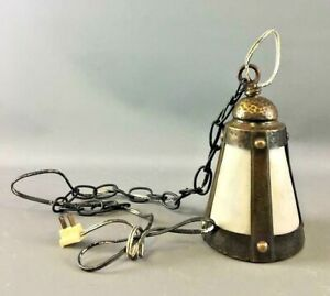 Antique Arts And Crafts Pendant Light Hammered Brass Slag Glass Lamp Mission Vtg