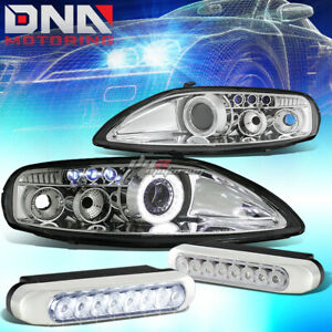 Chrome Halo Projector Headlight 8 Led Grill Drl Light Fit 92 00 Z30 Sc300 sc400