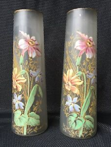Pair Of Vases Art Nouveau Decor Enamelled Flowers Legras