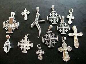 Sterling Silver Lot Of 12 Religions Pendants Not Scrap From Jerusalem 43 G