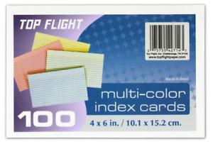 Top Flight Index Cards Ruled 4 X 6 Inches Rainbow Colors 100 Per pack Of 7