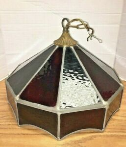 Vintage Hanging Light Fixture Multicolor Stained Glass Vintage Leaded Glass