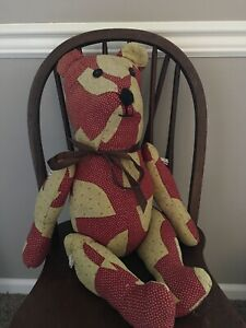 Vintage Ooak Patchwork Quilt Hand Made Jointed Teddy Bear Drunkards Path 1920 S