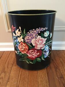 Vintage Tole Painted Metal Trash Can Black Multi Color Floral Shabby Chic
