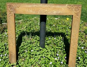 Antique Late 1800s Cast Iron Fireplace Insert Frame Surround Summer Cover