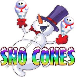 Sno Cone Snow Man Concession Food Cart Ice Cream Truck Vinyl Weatherproof Decal