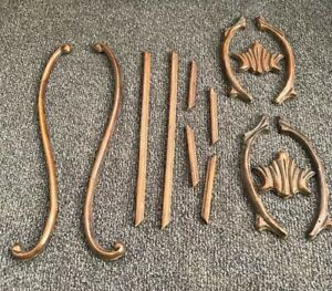 Vintage Applique Wood Carved Furniture Trim Pieces Salvage Scroll Antique Crown