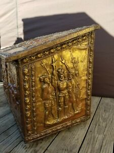 Labeled 1846 Antique French Hammered Copper Steamer Trunk Chest Fireplace Box