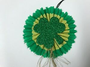 Saint Patricks Day Feather Tree Ornaments Chenille Gift Tags Item 21a