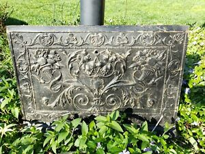 Vintage Antique Cast Iron Fireplace Cover Ornate Floral Design Free Shipping