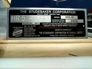 Studebaker Canada Made Model Serial Number Data Plate Id Tag
