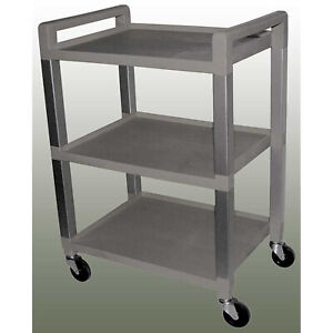 Stainless Mobile Utility Cart W push Handles 3 shelf 150lb Capacity Poly Gray