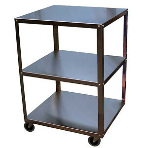 New Utility Cart 3 Shelf Knocked down 19x21in 300lbs Capacity Polished Stainless