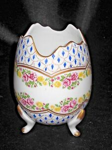 Paris Royal Porcelain Rose Floral Gold Accent Cracked Egg Shape 3 Footed 5 Vase