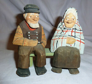 Hand Carved Old Man Woman On Bench Signed Lorens Larsson Sweden
