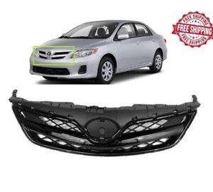 For 2011 2012 2013 Toyota Corolla Front Bumper Upper Grill Gloss Black Grille