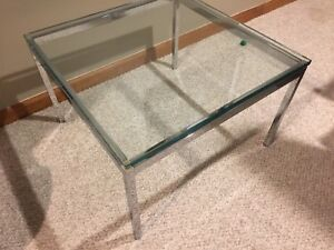 Florence Knoll Glass And Chrome Coffee Table
