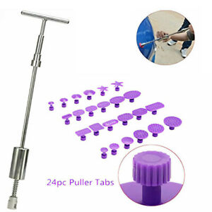 Paintless Dent Repair Tools Slide Hammer 24pcs Puller Tabs Car Body Kit