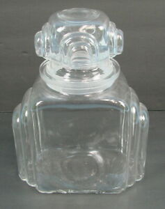 Antique Art Deco Apothecary Candy Jar Drug Store Pharmacy Clear Glass 5 5 Depth