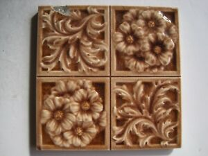 Antique Victorian Mintons Aesthetic Moulded 4 Section Wall Tile Brown